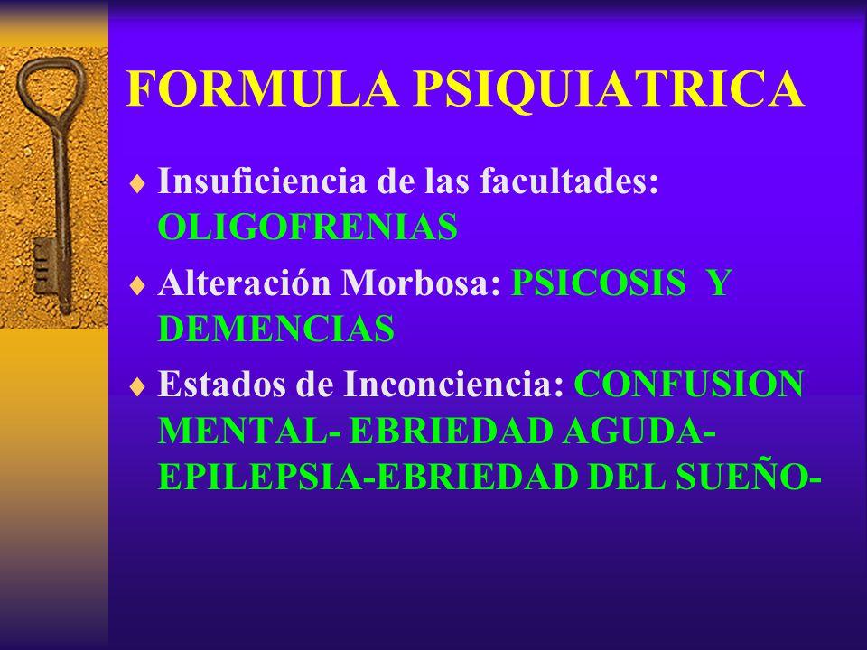 FORMULA PSIQUIATRICA Insuficiencia de las facultades: OLIGOFRENIAS Alteración Morbosa: PSICOSIS Y DEMENCIAS Estados de Inconciencia: CONFUSION MENTAL-
