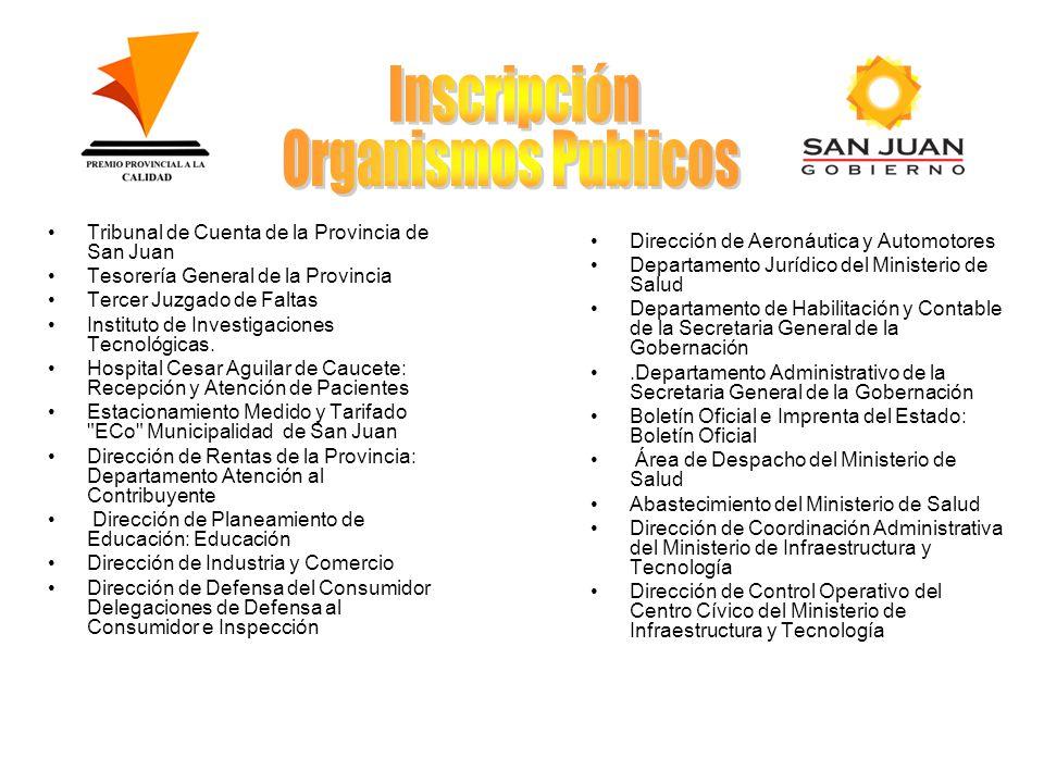 Tribunal de Cuenta de la Provincia de San Juan Tesorería General de la Provincia Tercer Juzgado de Faltas Instituto de Investigaciones Tecnológicas.