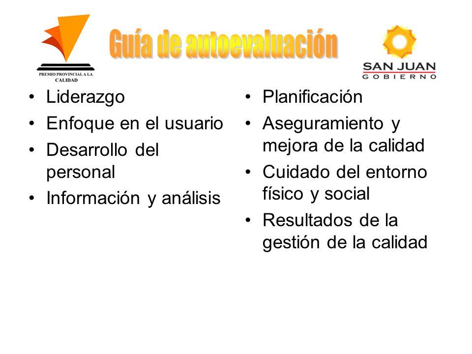 Liderazgo Enfoque en el usuario Desarrollo del personal Información y análisis Planificación Aseguramiento y mejora de la calidad Cuidado del entorno físico y social Resultados de la gestión de la calidad