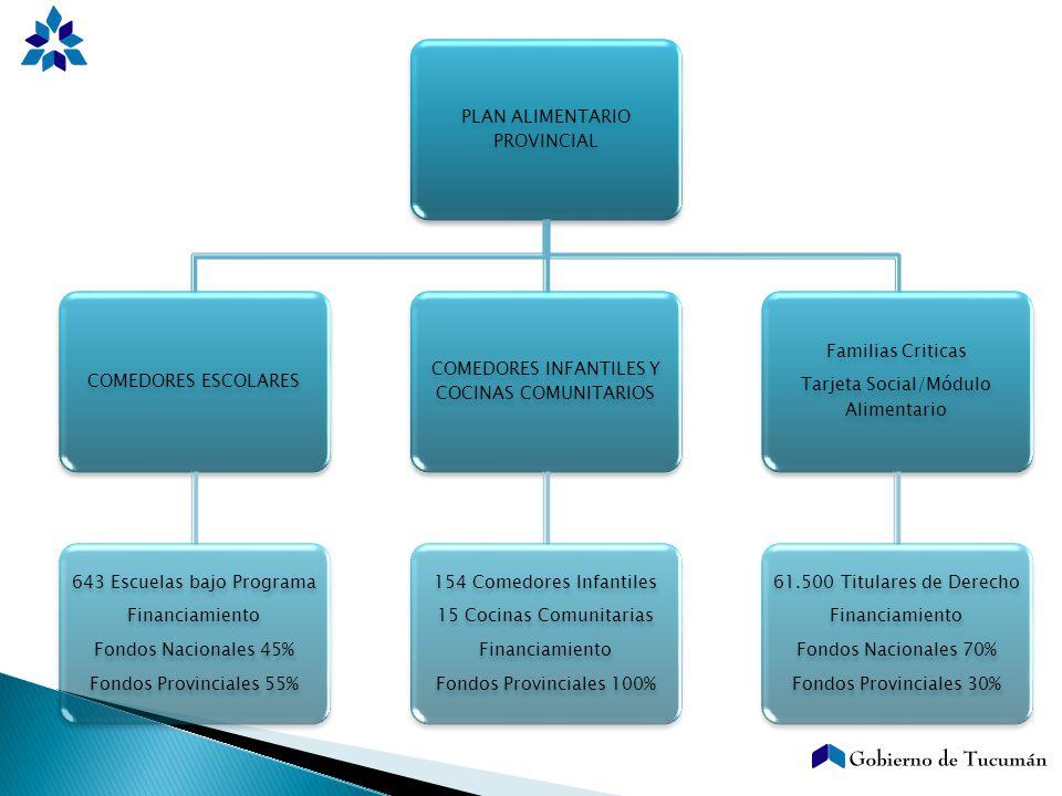 PLAN ALIMENTARIO PROVINCIAL COMEDORES ESCOLARES 643 Escuelas bajo Programa Financiamiento Fondos Nacionales 45% Fondos Provinciales 55% COMEDORES INFA