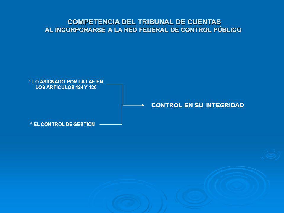 COMPETENCIA DEL TRIBUNAL DE CUENTAS AL INCORPORARSE A LA RED FEDERAL DE CONTROL PÚBLICO COMPETENCIA DEL TRIBUNAL DE CUENTAS AL INCORPORARSE A LA RED F