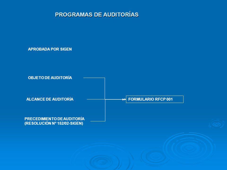 PROGRAMAS DE AUDITORÍAS APROBADA POR SIGEN OBJETO DE AUDITORÍA PRECEDIMIENTO DE AUDITORÍA (RESOLUCIÓN Nº 152/02-SIGEN) ALCANCE DE AUDITORÍA FORMULARIO