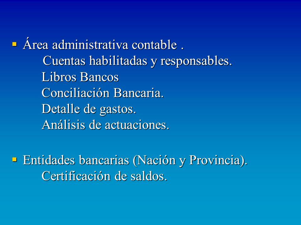 Área administrativa contable. Cuentas habilitadas y responsables. Libros Bancos Conciliación Bancaria. Detalle de gastos. Análisis de actuaciones. Áre