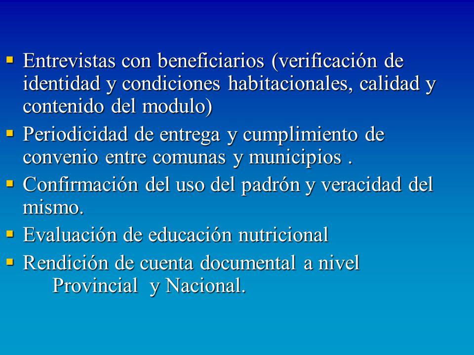 Entrevistas con beneficiarios (verificación de identidad y condiciones habitacionales, calidad y contenido del modulo) Entrevistas con beneficiarios (