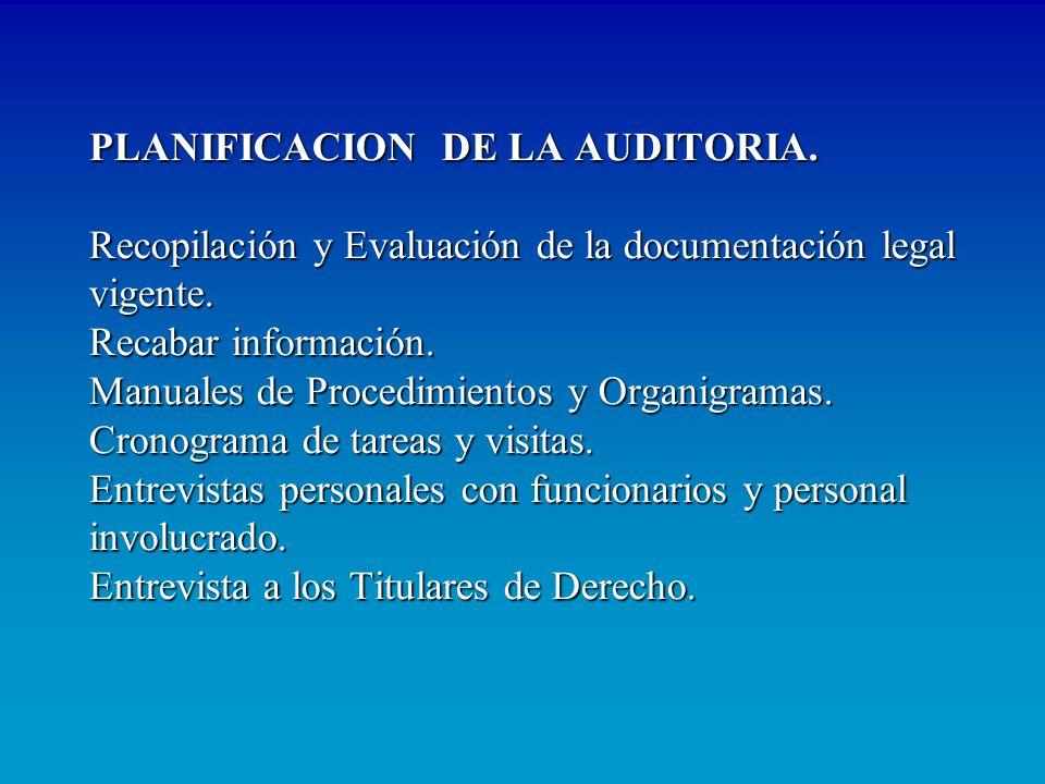 PLANIFICACION DE LA AUDITORIA. Recopilación y Evaluación de la documentación legal vigente. Recabar información. Manuales de Procedimientos y Organigr