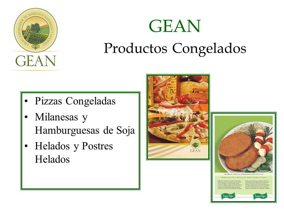 GEAN Productos Congelados Pizzas Congeladas Milanesas y Hamburguesas de Soja Helados y Postres Helados