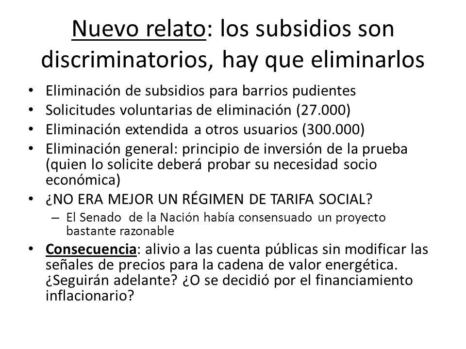 Nuevo relato: los subsidios son discriminatorios, hay que eliminarlos Eliminación de subsidios para barrios pudientes Solicitudes voluntarias de elimi