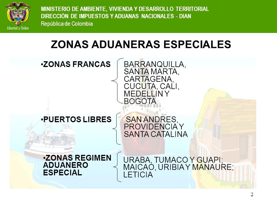 3 UBICACIÓN ZONAS ADUANERAS ESPECIALES Cúcuta Urabá Tumaco Guapi Manaure Uribia Maicao San Andrés y Santa Catalina Zonas Francas Puertos Libres Zonas de Régimen Aduanero Especial MINISTERIO DE AMBIENTE, VIVIENDA Y DESARROLLO TERRITORIAL DIRECCIÒN DE IMPUESTOS Y ADUANAS NACIONALES - DIAN República de Colombia