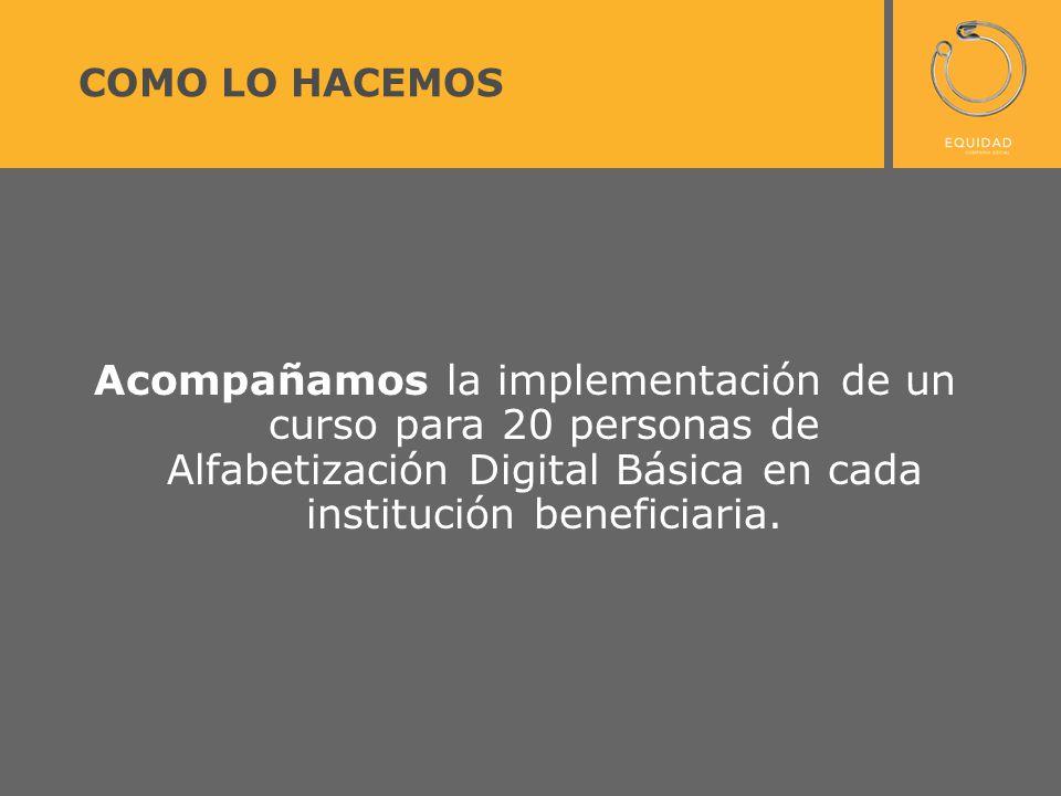 COMO LO HACEMOS Acompañamos la implementación de un curso para 20 personas de Alfabetización Digital Básica en cada institución beneficiaria.