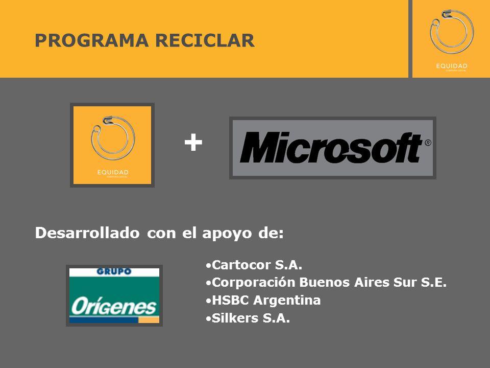 PROGRAMA RECICLAR + Desarrollado con el apoyo de: Cartocor S.A.