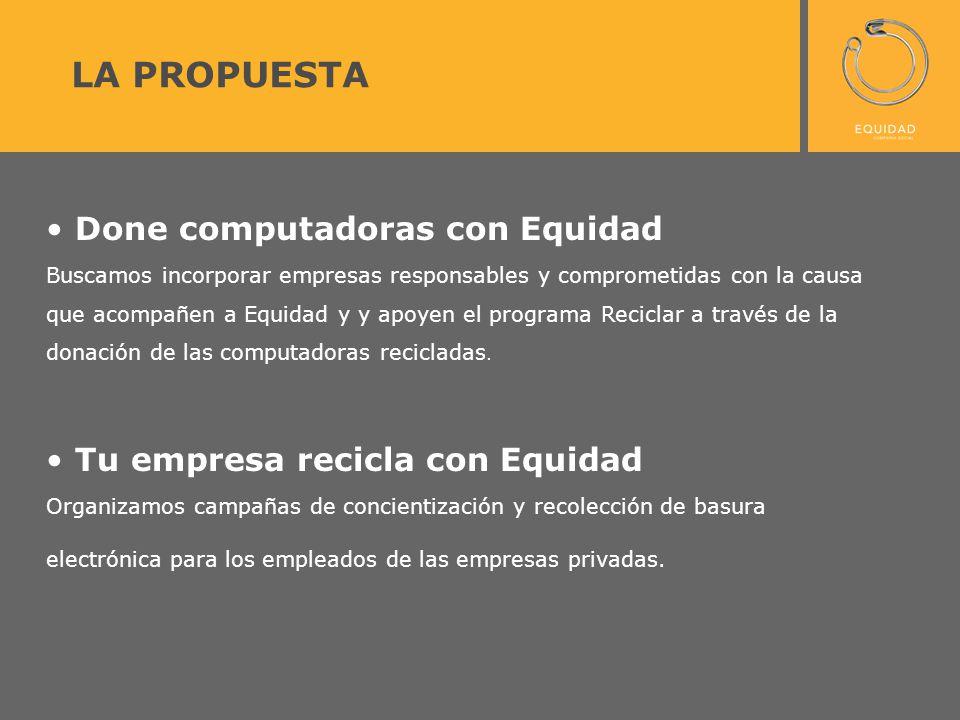 Done computadoras con Equidad Buscamos incorporar empresas responsables y comprometidas con la causa que acompañen a Equidad y y apoyen el programa Re