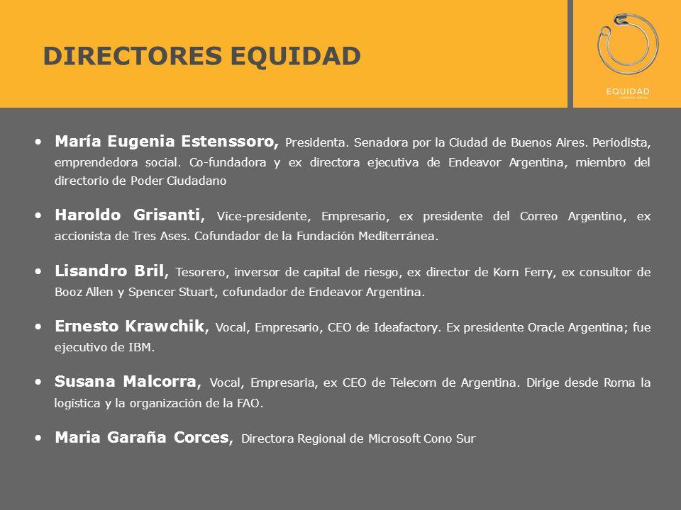 DIRECTORES EQUIDAD María Eugenia Estenssoro, Presidenta. Senadora por la Ciudad de Buenos Aires. Periodista, emprendedora social. Co-fundadora y ex di