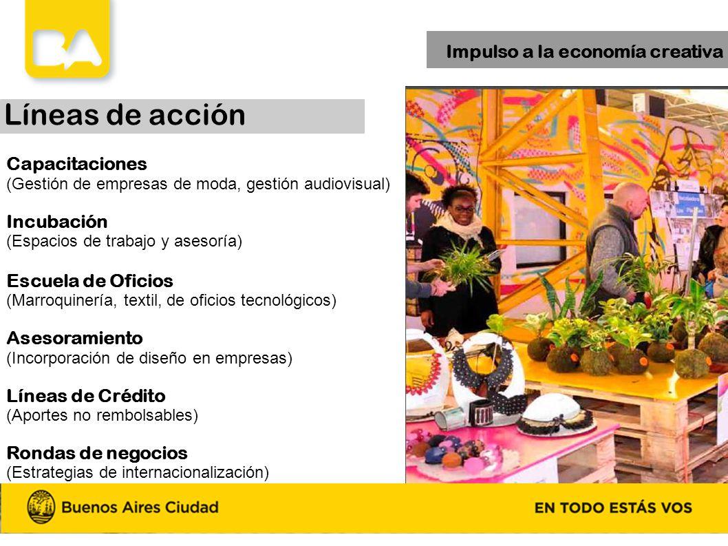 Impulso a la economía creativa Capacitaciones (Gestión de empresas de moda, gestión audiovisual) Incubación (Espacios de trabajo y asesoría) Escuela d