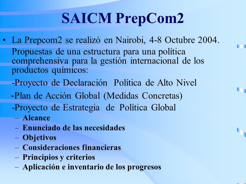 SAICM PrepCom2 La Prepcom2 se realizó en Nairobi, 4-8 Octubre 2004. Propuestas de una estructura para una política comprehensiva para la gestión inter