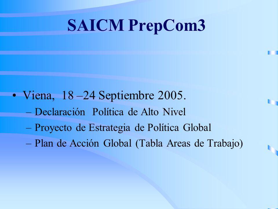 SAICM PrepCom3 Viena, 18 –24 Septiembre 2005. –Declaración Política de Alto Nivel –Proyecto de Estrategia de Política Global –Plan de Acción Global (T