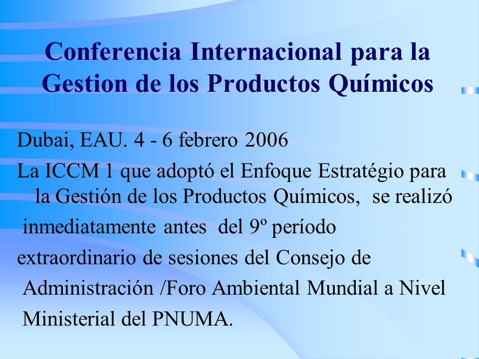 Conferencia Internacional para la Gestion de los Productos Químicos Dubai, EAU. 4 - 6 febrero 2006 La ICCM 1 que adoptó el Enfoque Estratégio para la