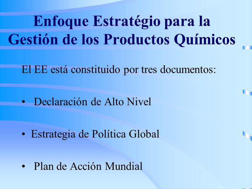 Enfoque Estratégio para la Gestión de los Productos Químicos El EE está constituido por tres documentos: Declaración de Alto Nivel Estrategia de Política Global Plan de Acción Mundial