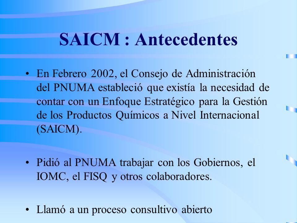 SAICM : Antecedentes ( cont.) En 2002 se conformó un Comité Operativo compuesto de 10 miembros : –7 participantes de organizaciones del Programa Interinstitucional para la Gestión Racional de las Sustancias Químicas ó IOMC (FAO, OIT, OECD, OMS, PNUMA, UNIDO, UNITAR) –El Foro Intergubernamental de Seguridad Química (FISQ/IFCS) –Programa de las Naciones Unidas para el Desarrollo (PNUD) –Banco Mundial