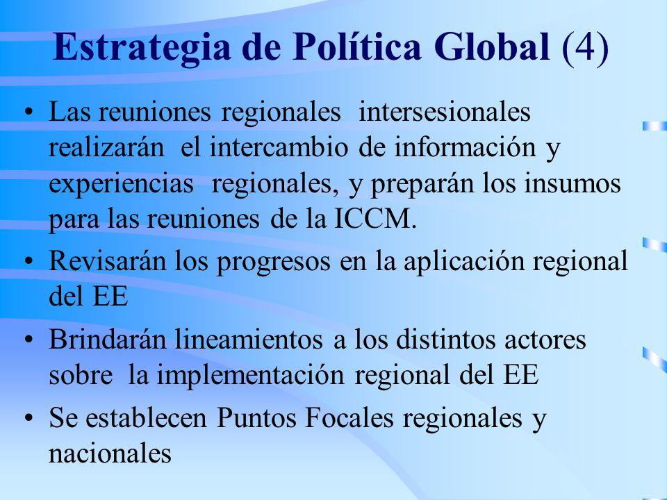 Estrategia de Política Global (4) Las reuniones regionales intersesionales realizarán el intercambio de información y experiencias regionales, y preparán los insumos para las reuniones de la ICCM.