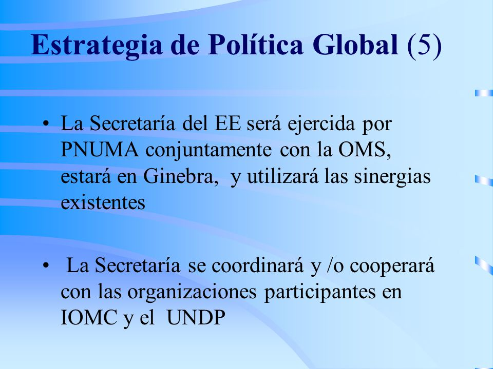 Estrategia de Política Global (5) La Secretaría del EE será ejercida por PNUMA conjuntamente con la OMS, estará en Ginebra, y utilizará las sinergias existentes La Secretaría se coordinará y /o cooperará con las organizaciones participantes en IOMC y el UNDP