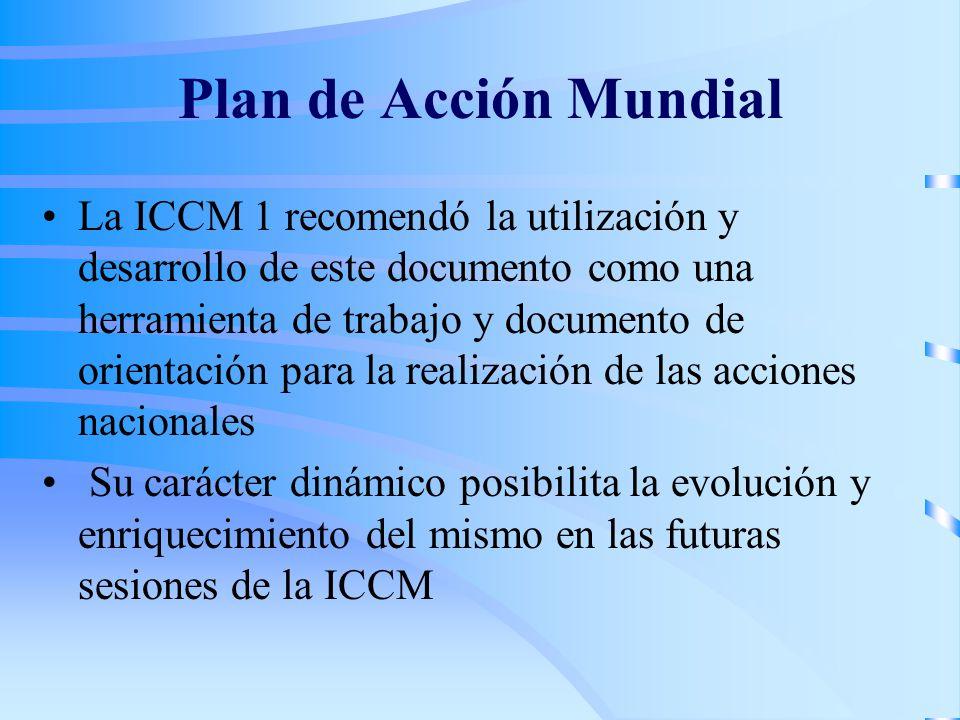 Plan de Acción Mundial La ICCM 1 recomendó la utilización y desarrollo de este documento como una herramienta de trabajo y documento de orientación pa