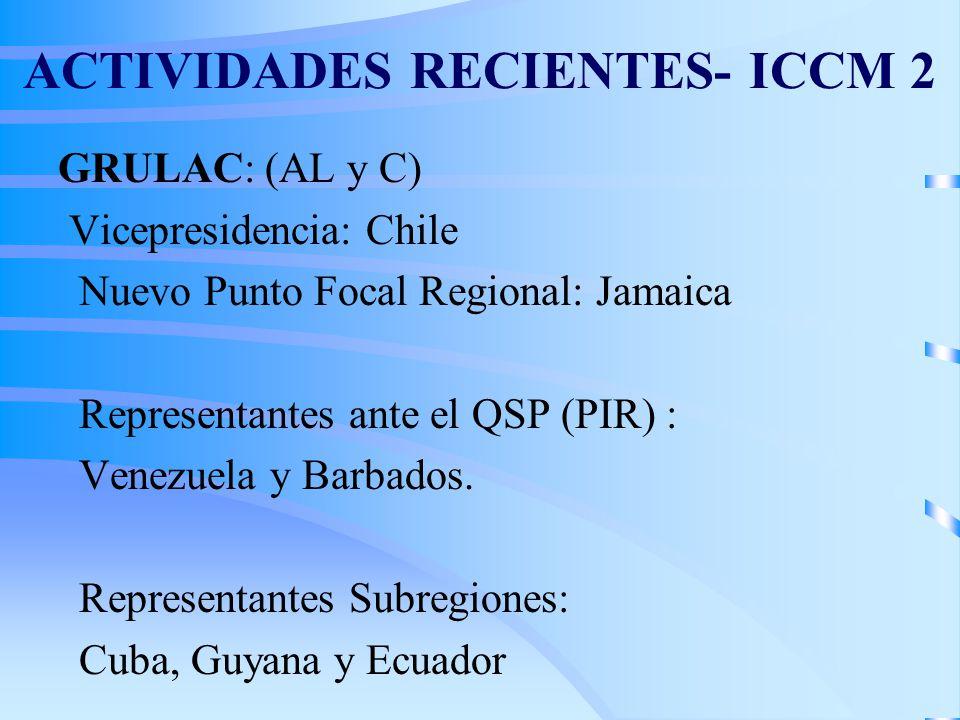 ACTIVIDADES RECIENTES- ICCM 2 GRULAC: (AL y C) Vicepresidencia: Chile Nuevo Punto Focal Regional: Jamaica Representantes ante el QSP (PIR) : Venezuela