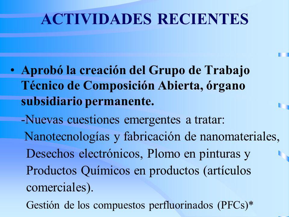 ACTIVIDADES RECIENTES Aprobó la creación del Grupo de Trabajo Técnico de Composición Abierta, órgano subsidiario permanente.