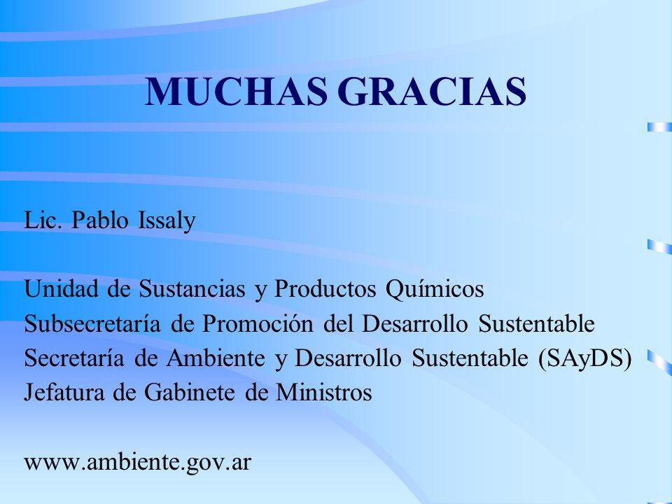 MUCHAS GRACIAS Lic. Pablo Issaly Unidad de Sustancias y Productos Químicos Subsecretaría de Promoción del Desarrollo Sustentable Secretaría de Ambient