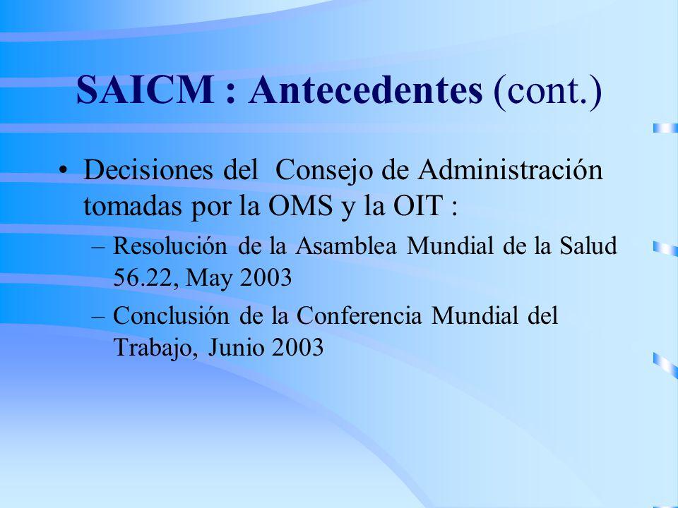 SAICM : Antecedentes (cont.) Decisiones del Consejo de Administración tomadas por la OMS y la OIT : –Resolución de la Asamblea Mundial de la Salud 56.