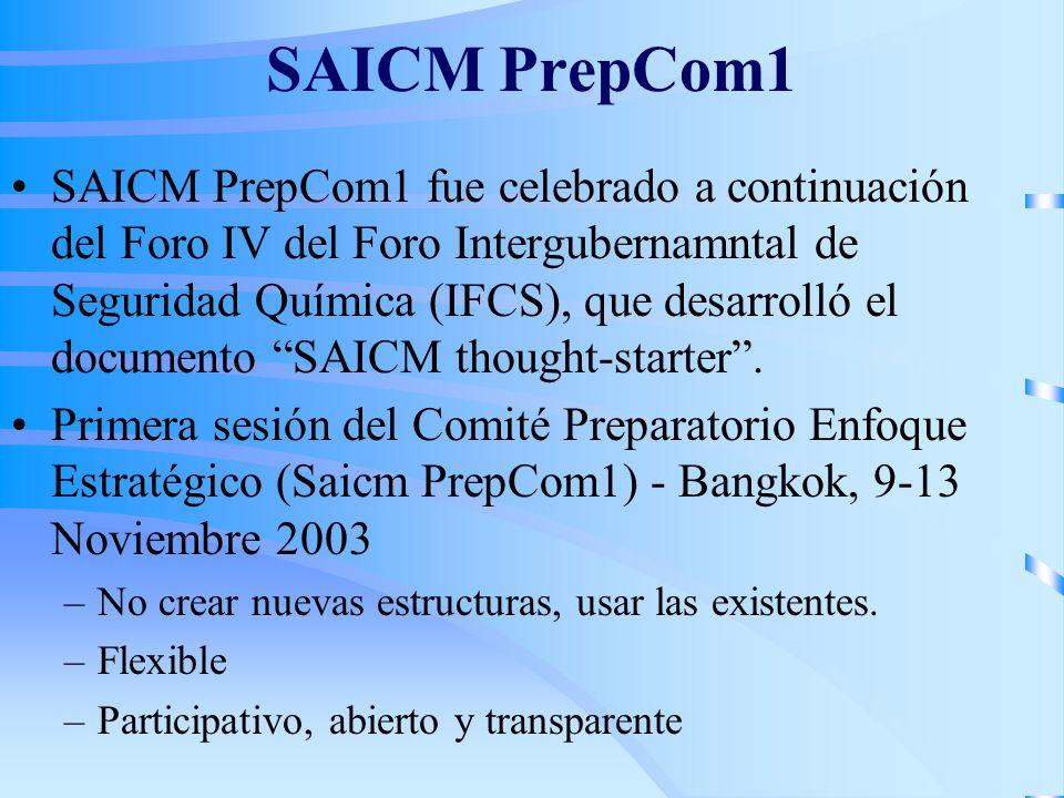 SAICM PrepCom1 SAICM PrepCom1 fue celebrado a continuación del Foro IV del Foro Intergubernamntal de Seguridad Química (IFCS), que desarrolló el docum