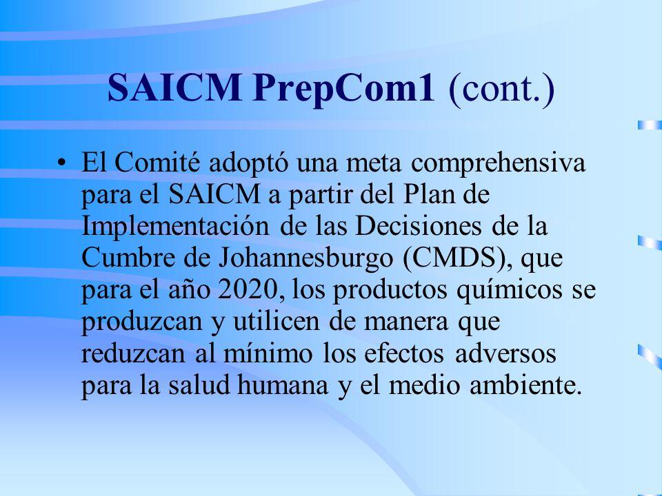 SAICM PrepCom1 (cont.) El Comité adoptó una meta comprehensiva para el SAICM a partir del Plan de Implementación de las Decisiones de la Cumbre de Johannesburgo (CMDS), que para el año 2020, los productos químicos se produzcan y utilicen de manera que reduzcan al mínimo los efectos adversos para la salud humana y el medio ambiente.