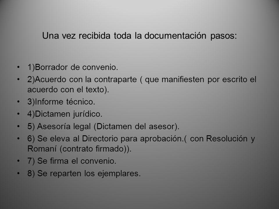 Una vez recibida toda la documentación pasos: 1)Borrador de convenio.
