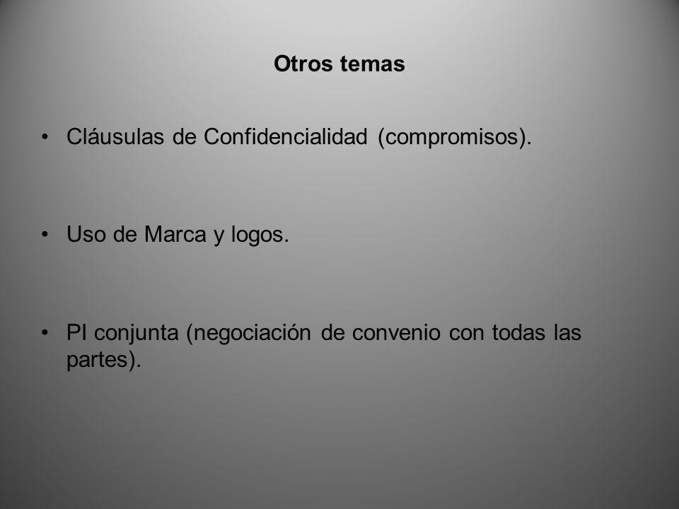Otros temas Cláusulas de Confidencialidad (compromisos).