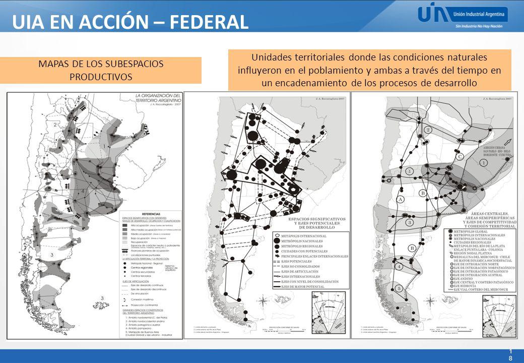 18 UIA EN ACCIÓN – FEDERAL - MAPAS DE LOS SUBESPACIOS PRODUCTIVOS Unidades territoriales donde las condiciones naturales influyeron en el poblamiento y ambas a través del tiempo en un encadenamiento de los procesos de desarrollo