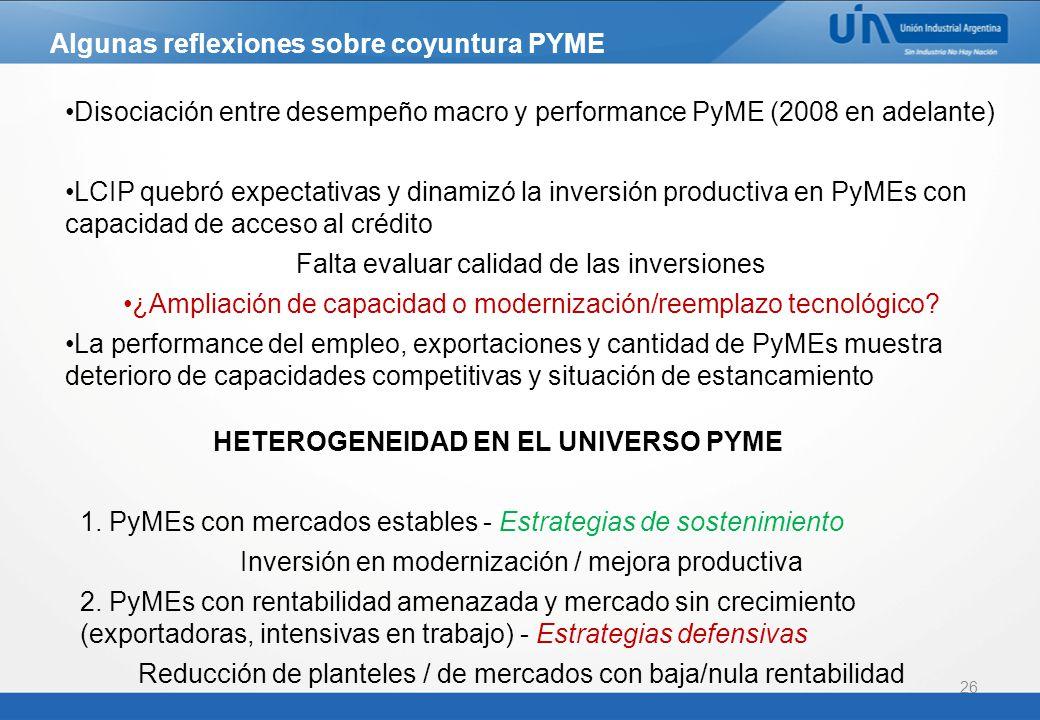 26 Algunas reflexiones sobre coyuntura PYME Disociación entre desempeño macro y performance PyME (2008 en adelante) LCIP quebró expectativas y dinamizó la inversión productiva en PyMEs con capacidad de acceso al crédito Falta evaluar calidad de las inversiones ¿Ampliación de capacidad o modernización/reemplazo tecnológico.