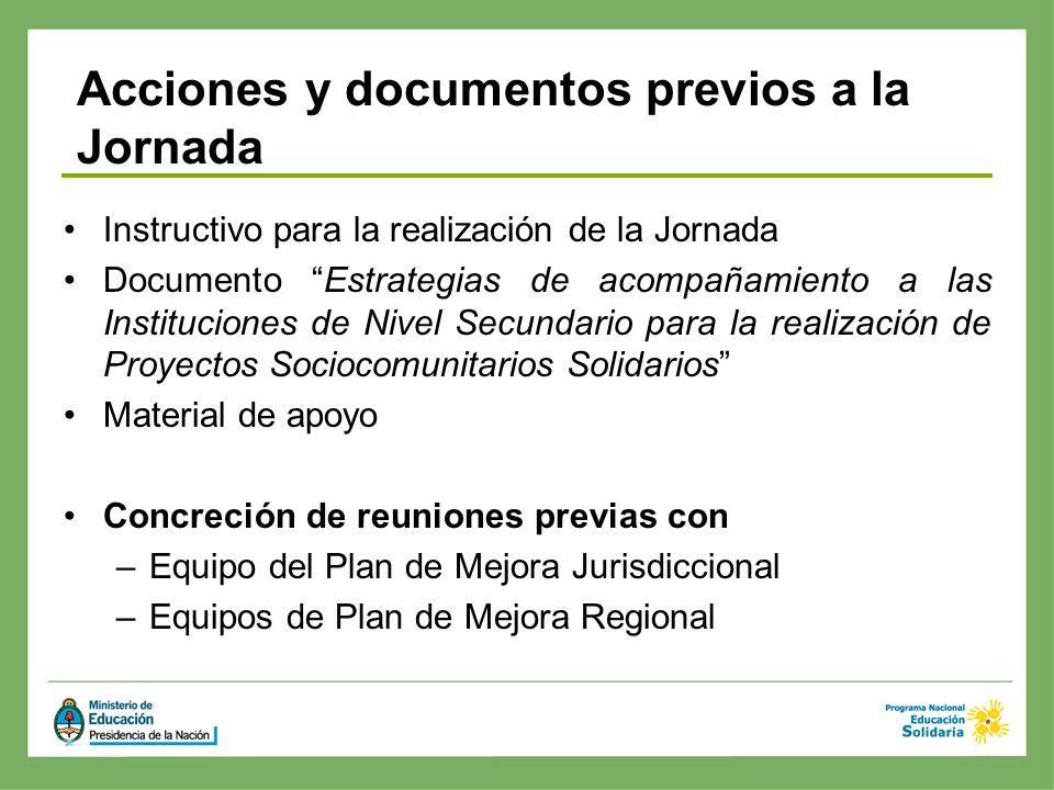 Instructivo para la realización de la Jornada Documento Estrategias de acompañamiento a las Instituciones de Nivel Secundario para la realización de P