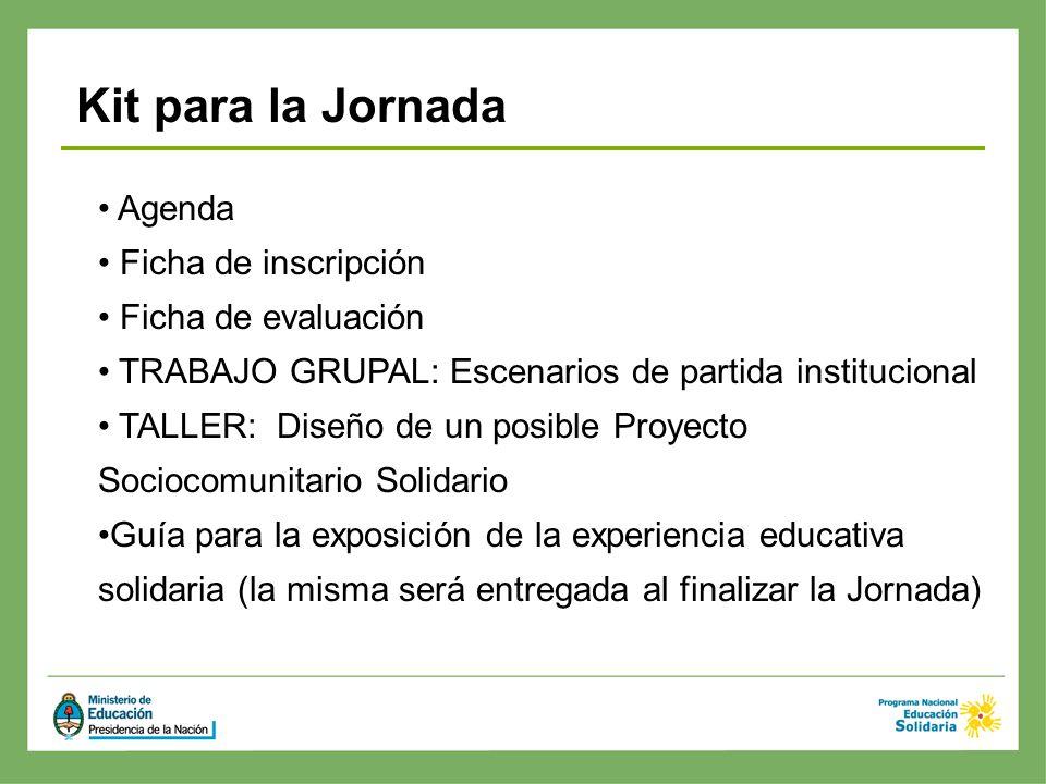 Agenda Ficha de inscripción Ficha de evaluación TRABAJO GRUPAL: Escenarios de partida institucional TALLER: Diseño de un posible Proyecto Sociocomunit
