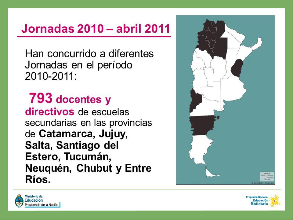 Han concurrido a diferentes Jornadas en el período 2010-2011: 793 docentes y directivos de escuelas secundarias en las provincias de Catamarca, Jujuy,