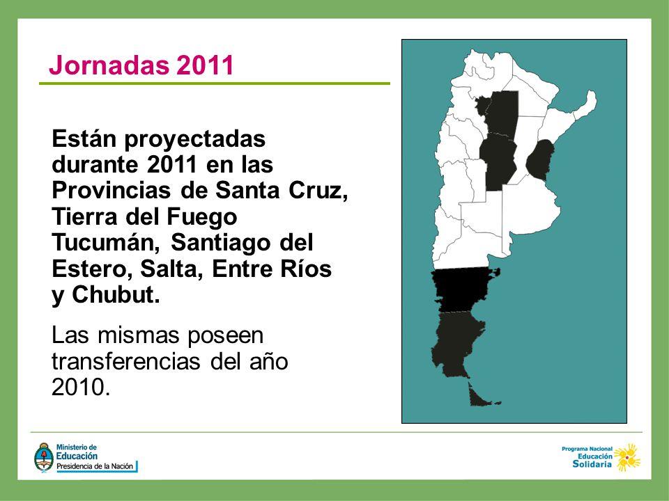 Están proyectadas durante 2011 en las Provincias de Santa Cruz, Tierra del Fuego Tucumán, Santiago del Estero, Salta, Entre Ríos y Chubut. Las mismas