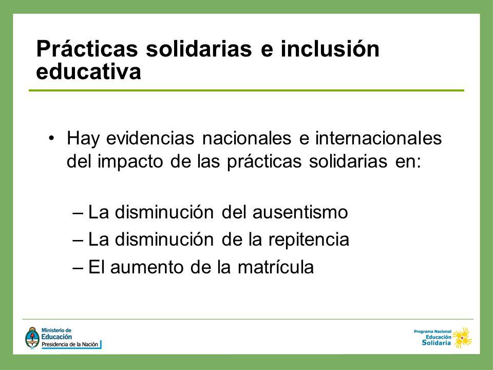 Hay evidencias nacionales e internacionales del impacto de las prácticas solidarias en: –La disminución del ausentismo –La disminución de la repitenci
