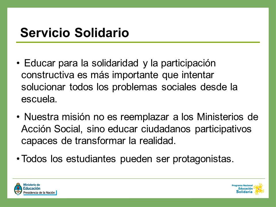 Educar para la solidaridad y la participación constructiva es más importante que intentar solucionar todos los problemas sociales desde la escuela. Nu