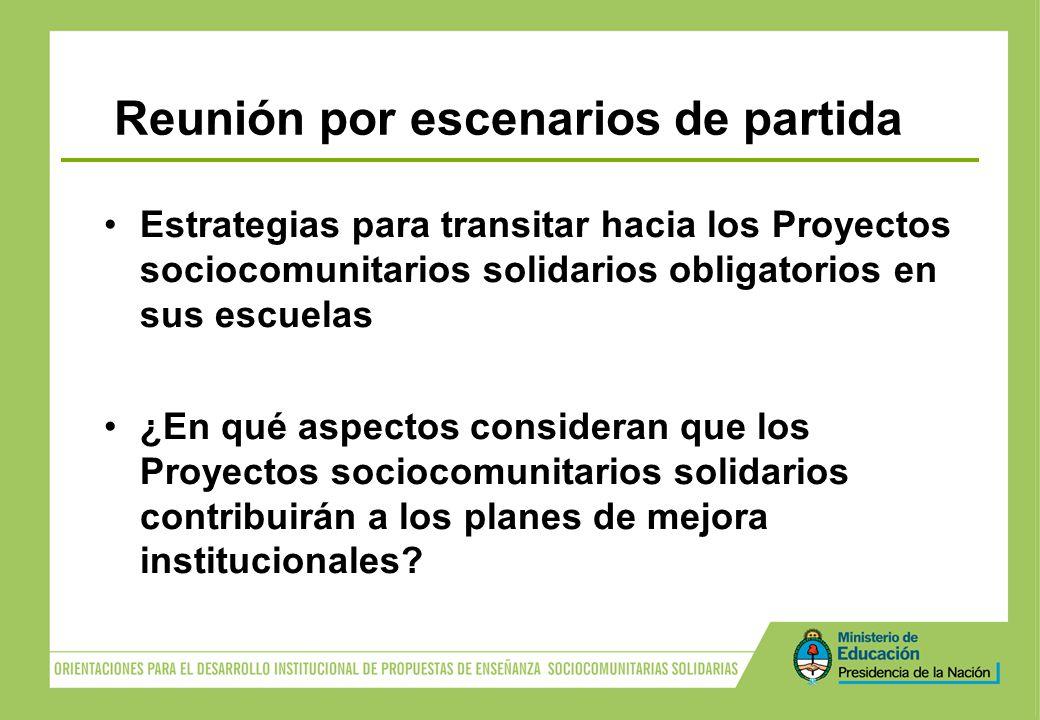 Reunión por escenarios de partida Estrategias para transitar hacia los Proyectos sociocomunitarios solidarios obligatorios en sus escuelas ¿En qué asp
