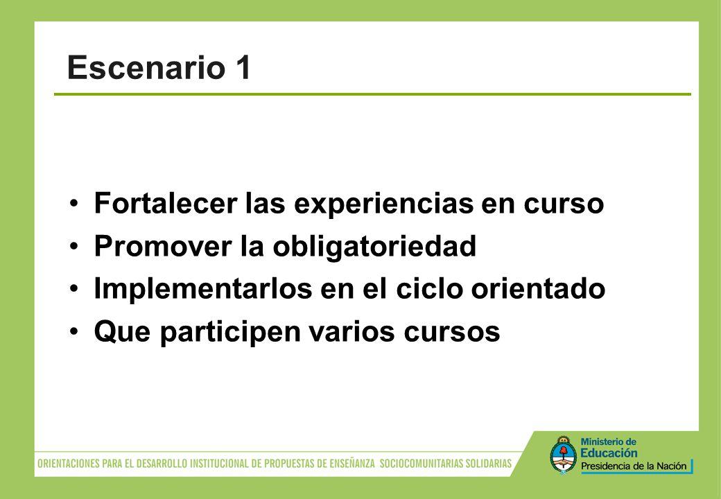Fortalecer las experiencias en curso Promover la obligatoriedad Implementarlos en el ciclo orientado Que participen varios cursos Escenario 1