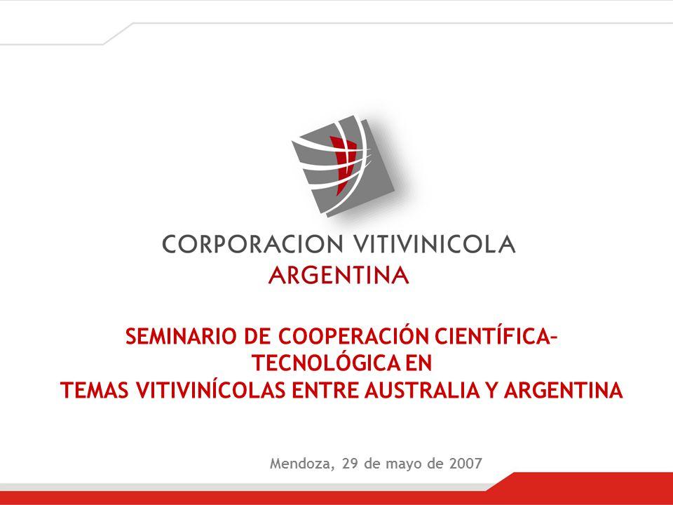 Mendoza, 29 de mayo de 2007 SEMINARIO DE COOPERACIÓN CIENTÍFICA– TECNOLÓGICA EN TEMAS VITIVINÍCOLAS ENTRE AUSTRALIA Y ARGENTINA