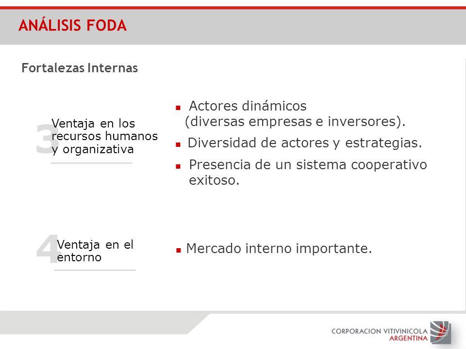 4 3 Ventaja en los recursos humanos y organizativa Presencia de un sistema cooperativo exitoso. Actores dinámicos (diversas empresas e inversores). Di