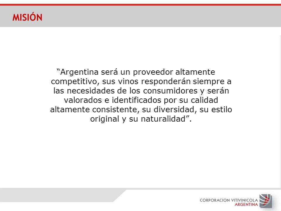 Argentina será un proveedor altamente competitivo, sus vinos responderán siempre a las necesidades de los consumidores y serán valorados e identificad