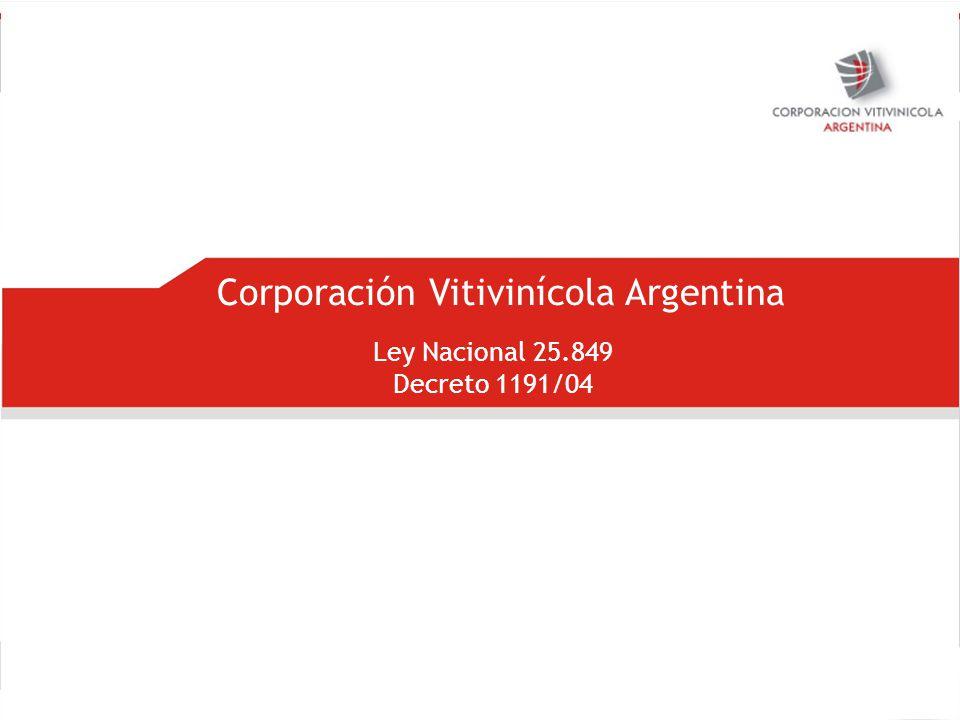 Corporación Vitivinícola Argentina Ley Nacional 25.849 Decreto 1191/04