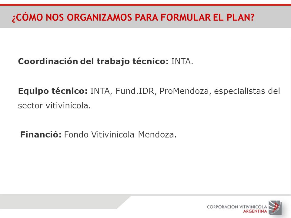 Financió: Fondo Vitivinícola Mendoza. Coordinación del trabajo técnico: INTA. Equipo técnico: INTA, Fund.IDR, ProMendoza, especialistas del sector vit