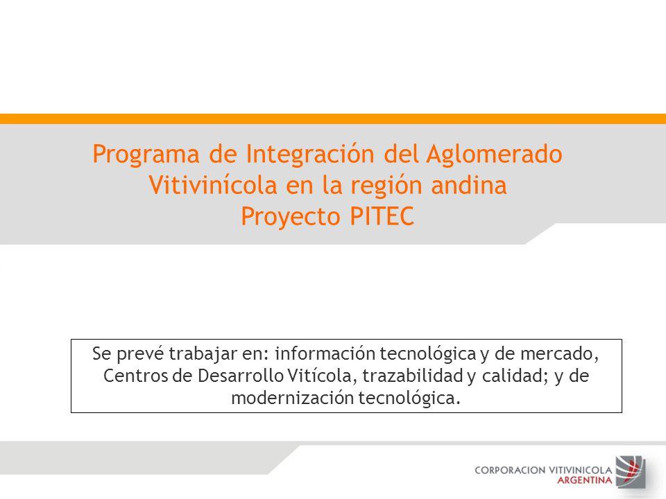 Programa de Integración del Aglomerado Vitivinícola en la región andina Proyecto PITEC Se prevé trabajar en: información tecnológica y de mercado, Cen