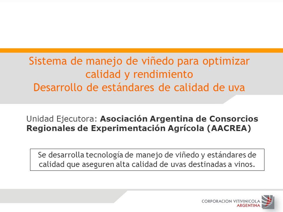 Sistema de manejo de viñedo para optimizar calidad y rendimiento Desarrollo de estándares de calidad de uva Unidad Ejecutora: Asociación Argentina de
